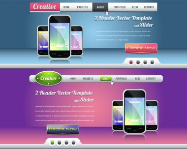Website header and slider design vector elements