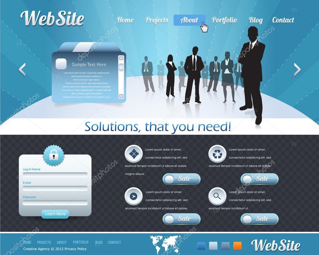 Business Stil Web Vorlage Vektor-Design-set — Stockvektor ...
