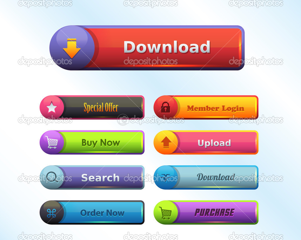 Web Elements Multicolored Shiny Button Set