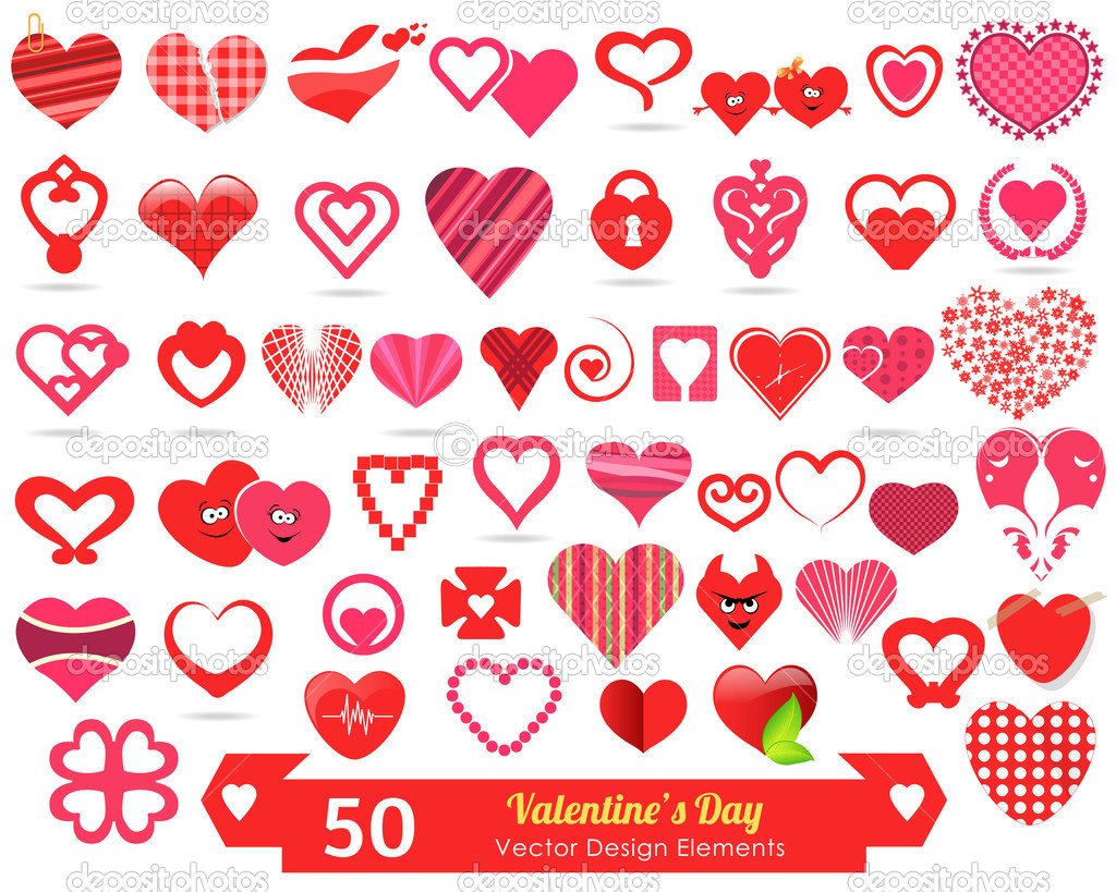 50 Valentine's Day Vector Design Elements