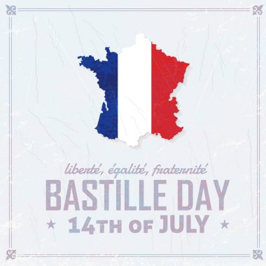 14th July Bastille Day of France Announcement Celebration Message Poster, Flyer, Card, Background Vector Design
