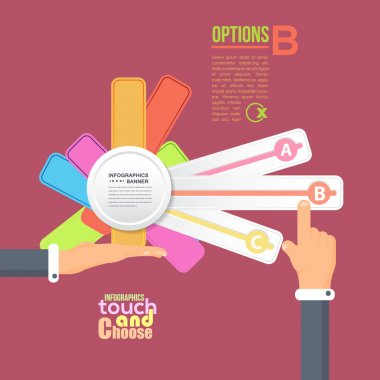 Flat Infographics Template and Web Elements - Business, Marketing Touch and Choose Concept Vector Design