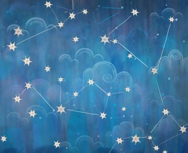 Constellation. Starry sky. The night sky. Stars and Clouds
