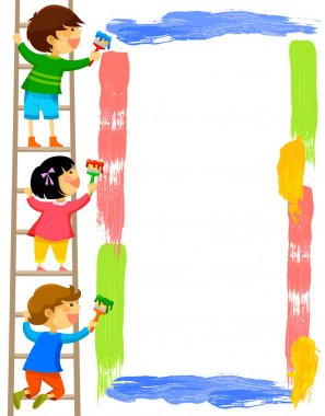 Kids standing on a ladder and painting a colorful frame clip art vector