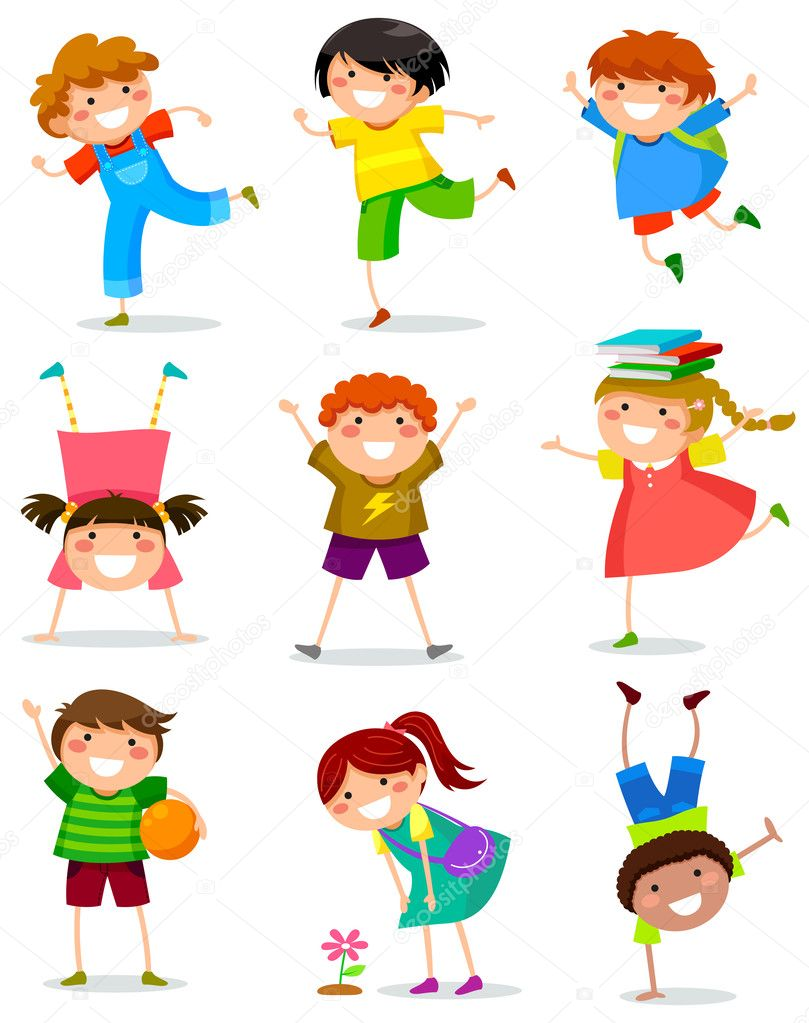 Kid Playing With Toys Vector Cartoon Illustration Pics Stock Photos