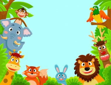 Happy jungle animals creating a framed background stock vector