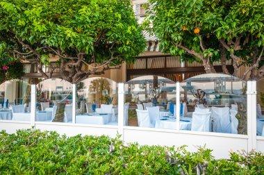 French restaurant with orange trees.