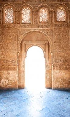 Arabesque door of Granada palace in Spain, Europe.