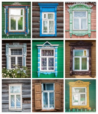 Set of windows of russian houses.