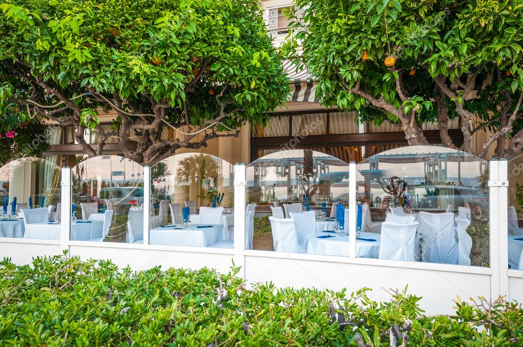 French restaurant with orange trees.