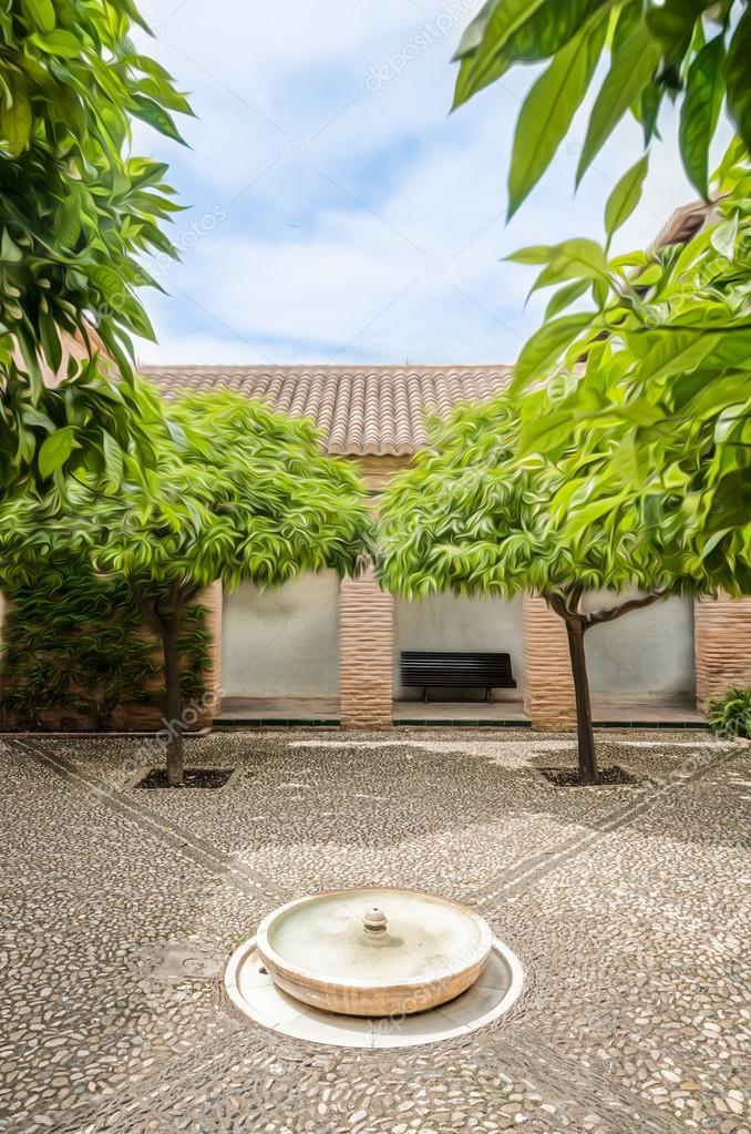 piccolo giardino nel palazzo del generalife, spagna ? foto ... - Piccolo Giardino Con Fontana