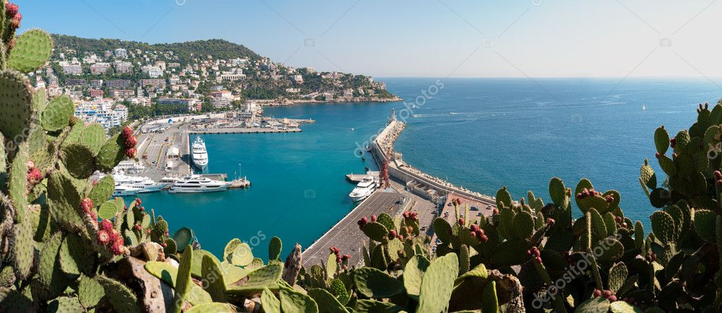 Panorama of Nice city port, France.