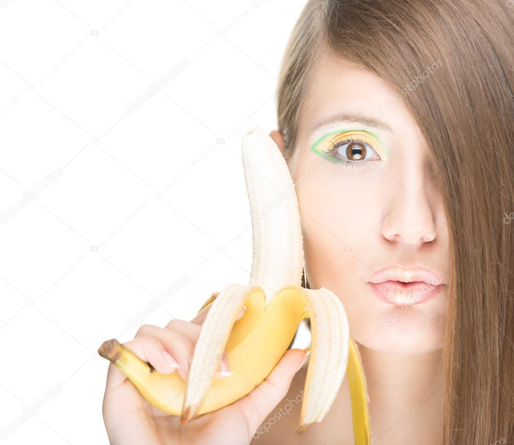 Красивые девушки с бананом незнакомцем баре