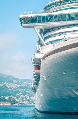 Front detail of large luxury cruise ship.