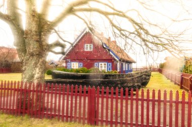 Lovely dark red country house with shutter windows and big yard paled with wooden fence. Large bare tree with long branches and fence in foreground. Quiet rural place. Traditional russian house. stock vector