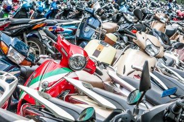 Motorbikes on parking zone