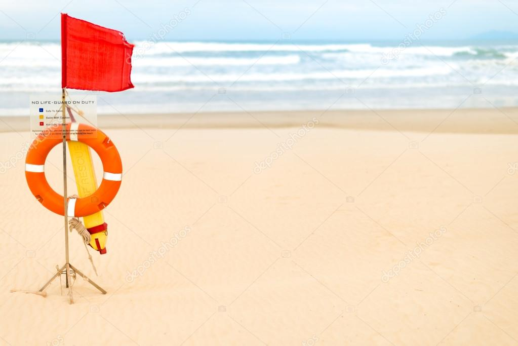Life saving objects with red flag