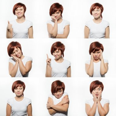 Collage of young woman face expressions composite isolated on white background