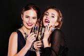 zwei stilvolle junge Frauen mit Brille, Champagner