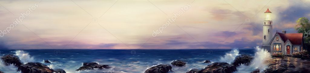 lighthouse sea oil painting panoramic