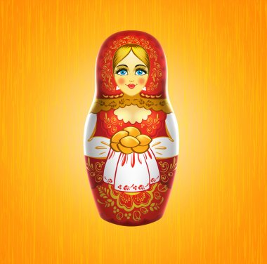 Russian babushka or matrioshka doll with pies on wooden background. Russian souvenir. Realistic vector illustration