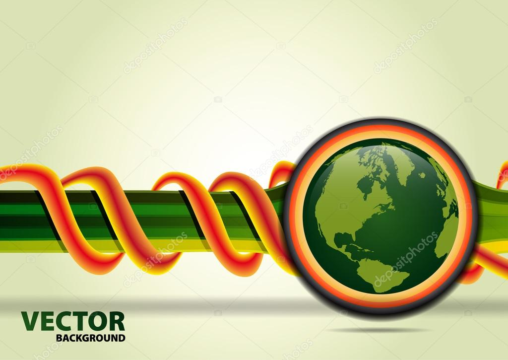 Green planet vector background