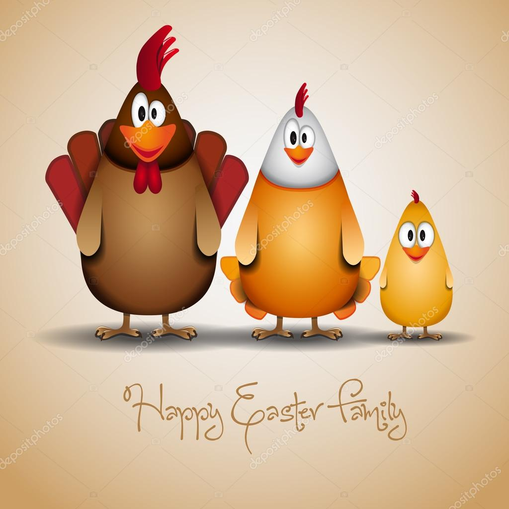 Happy Easter - Funny chicken family illustration