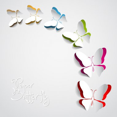 Greeting card with paper butterfly stock vector