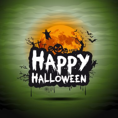 Halloween night illustration - background with place for text