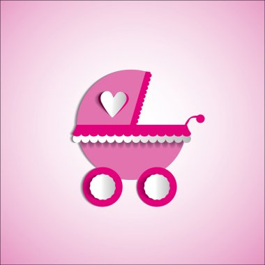 Baby card - Its a girl, boy theme - with baby carriage