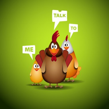 Happy Easter - Funny chicken family with speech bubbles - vector illustration