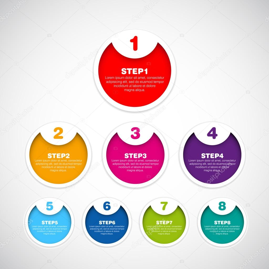 One two three - Set of three version - vector paper progress steps for tutorial