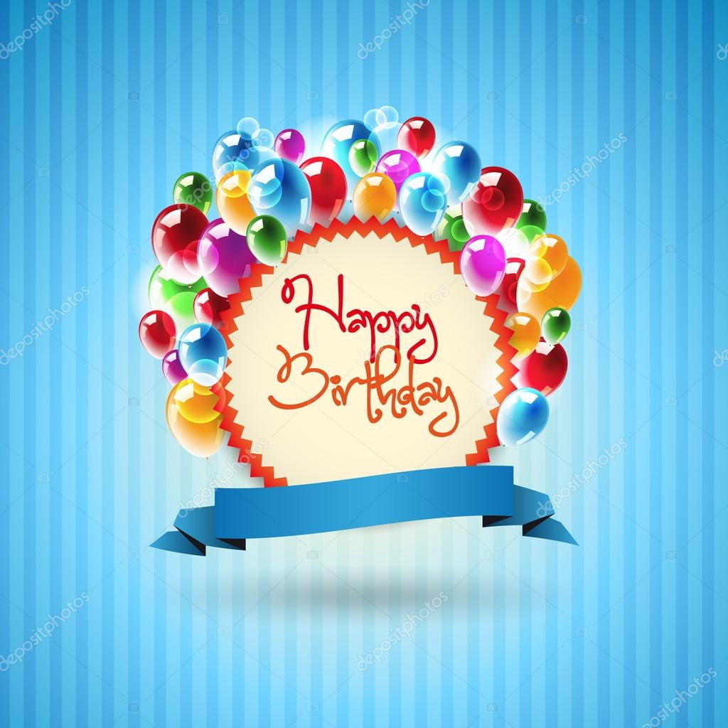 Happy Birthday Card With Colorful Balloons