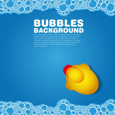Soap bubble bath blue on background with duck