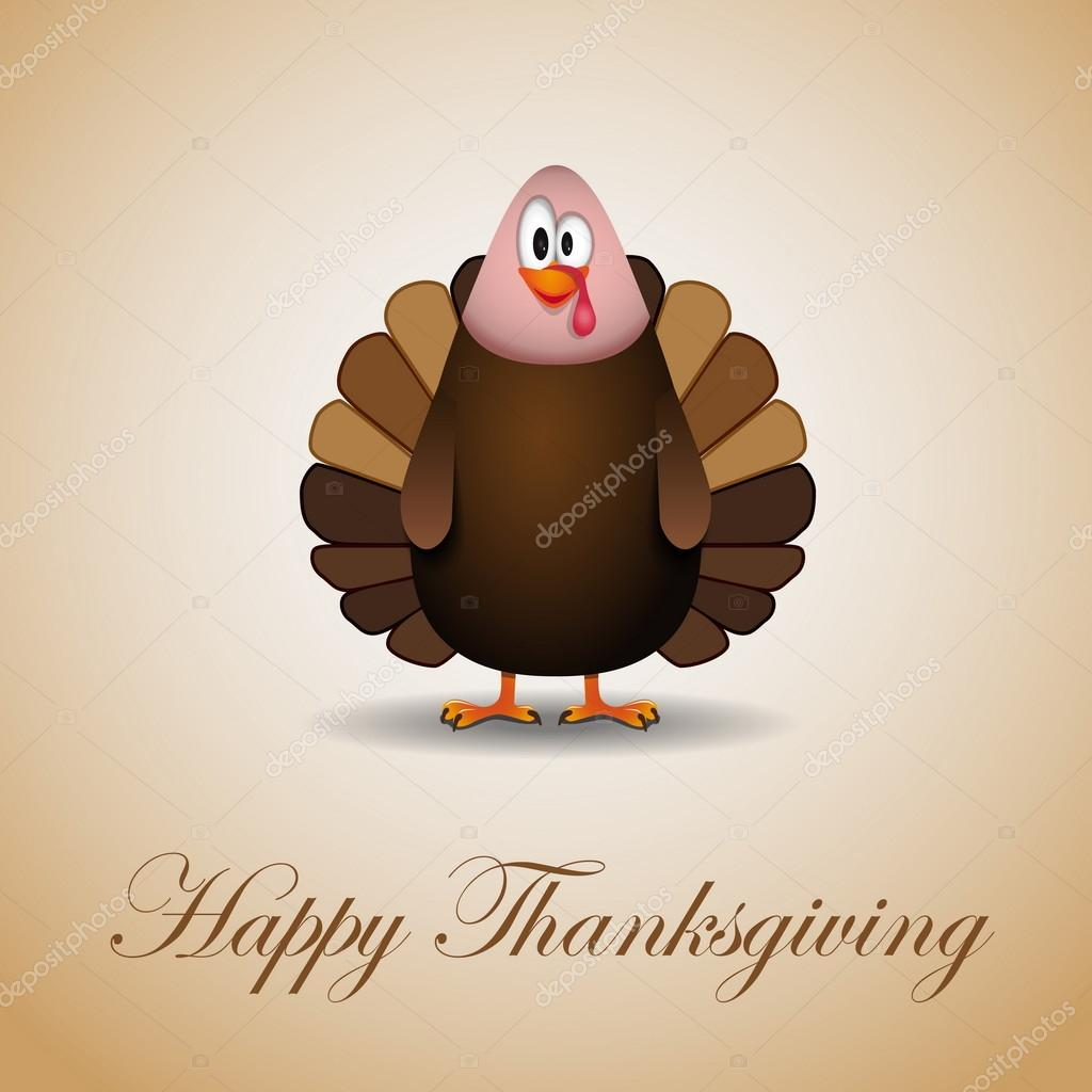 Happy Thanksgiving cartoon turkey - card vector illustration