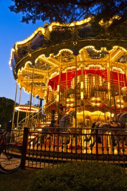 Merry-go-round carousel at night