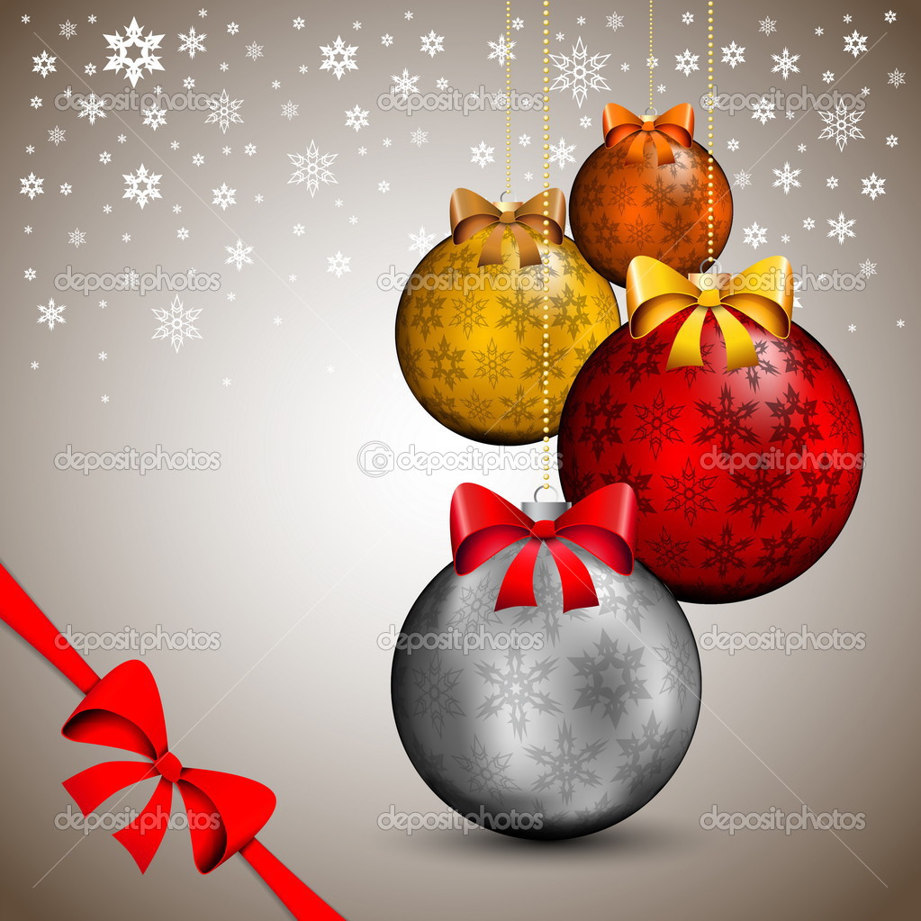 Sfondi Natalizi Eleganti.Elegante Sfondo Di Natale Con Palline D Oro E Fiocchi Vettoriali