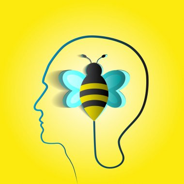 Human head with paper bee