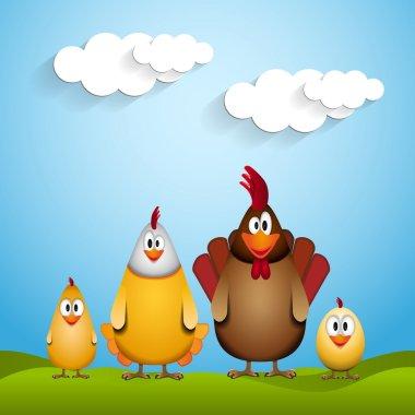 Funny chicken family