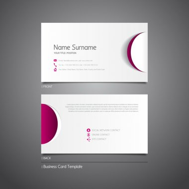 Business card template with paper circle