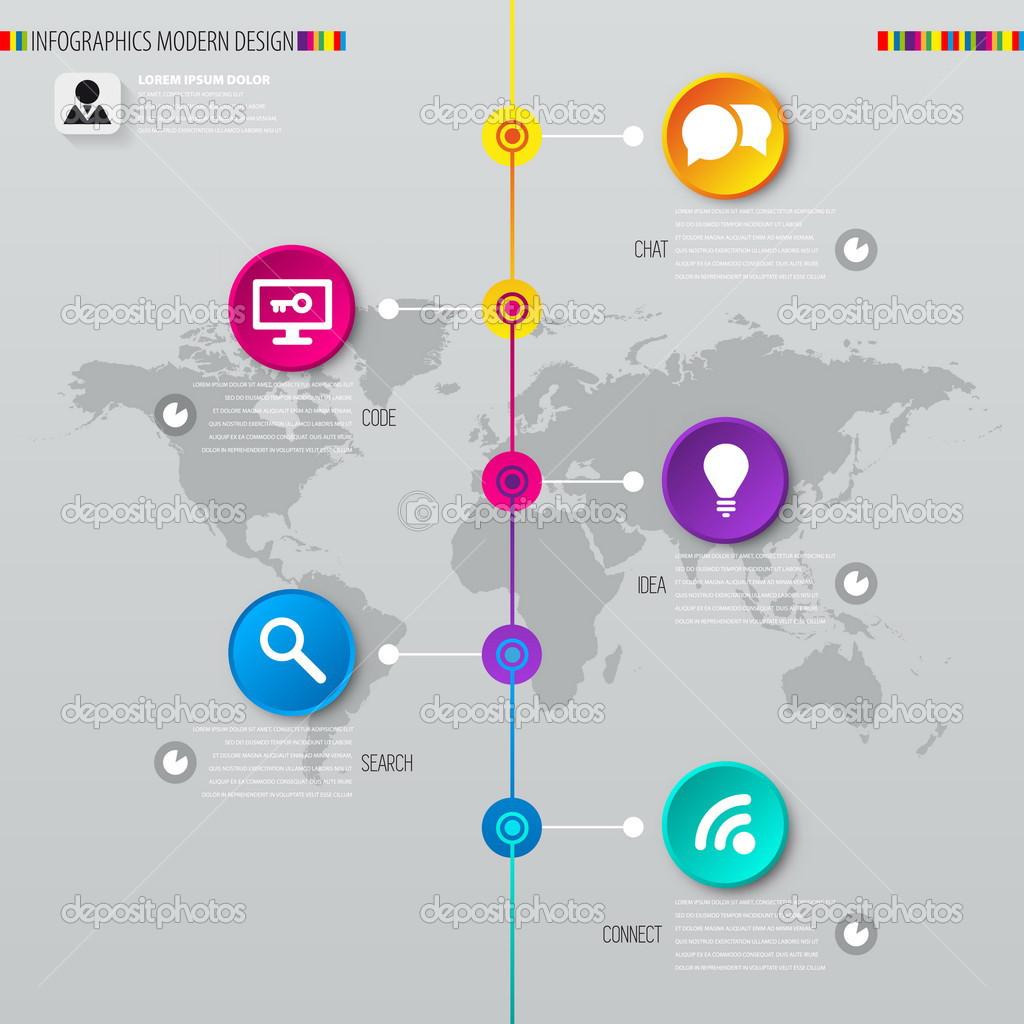 Digital illustration Infographic timeline report template. — Stock ...