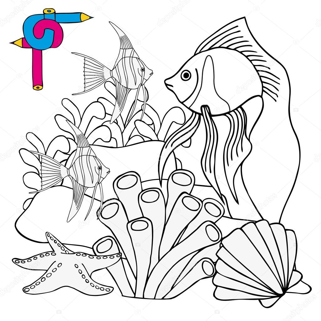 colorear imagen sealife — Archivo Imágenes Vectoriales © connynka ...