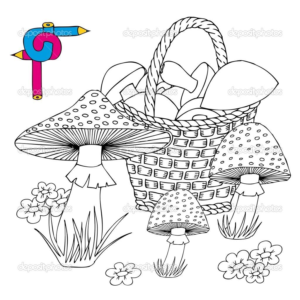 Раскраска корзина с грибами | Раскраска корзина с грибами ...