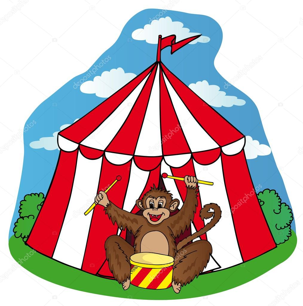 Circus tent with monkey - vector illustration. u2014 Vector by connynka  sc 1 st  Depositphotos : monkey tent - memphite.com