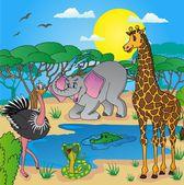 Africká krajina se zvířaty 03