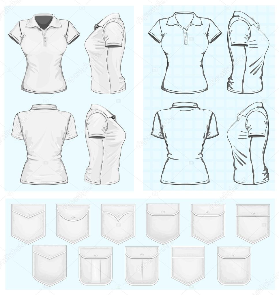 Polo shirt design vector - Vector Women S Polo Shirt Design Templates Vector By Ivelly