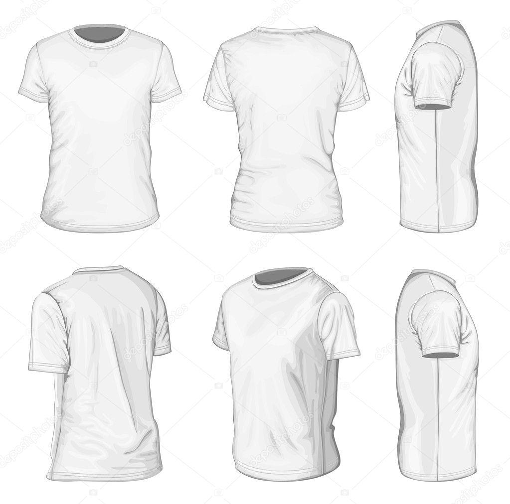 Blanco de los hombres corto manga plantillas de diseño de camiseta ...
