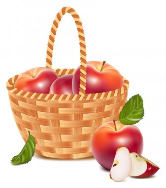 Red ripe apples in the basket.