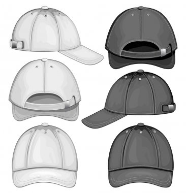 Vector illustration of baseball cap (front, back and side view) stock vector