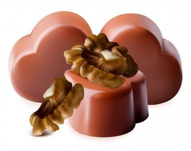 Chocolates with walnut.